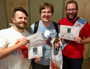 Presenting LOBSTERCON winner Ben Wagnon with a special prize from Italy's Fishliver Crew!